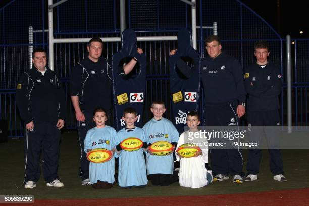 Grant Talbot Jon Welsh Moray Low and Steven Meeheghn take kids in a session of street rugby during the Scottish Rugby Announcement at the Multi...