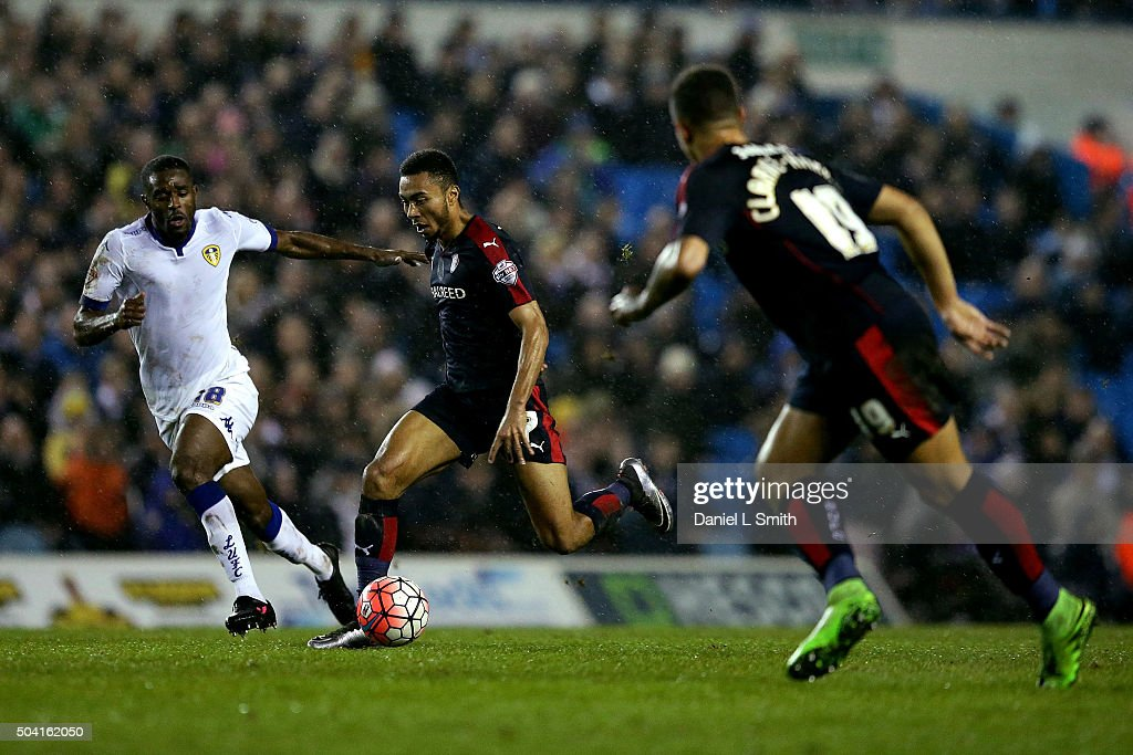 Grant Ward of Rotherham United FC maintains possession over Mustafa Carayol of Leeds United FC during The Emirates FA Cup Third Round match between Leeds United and Rotherham United at Elland Road on January 9, 2016 in Leeds, England.