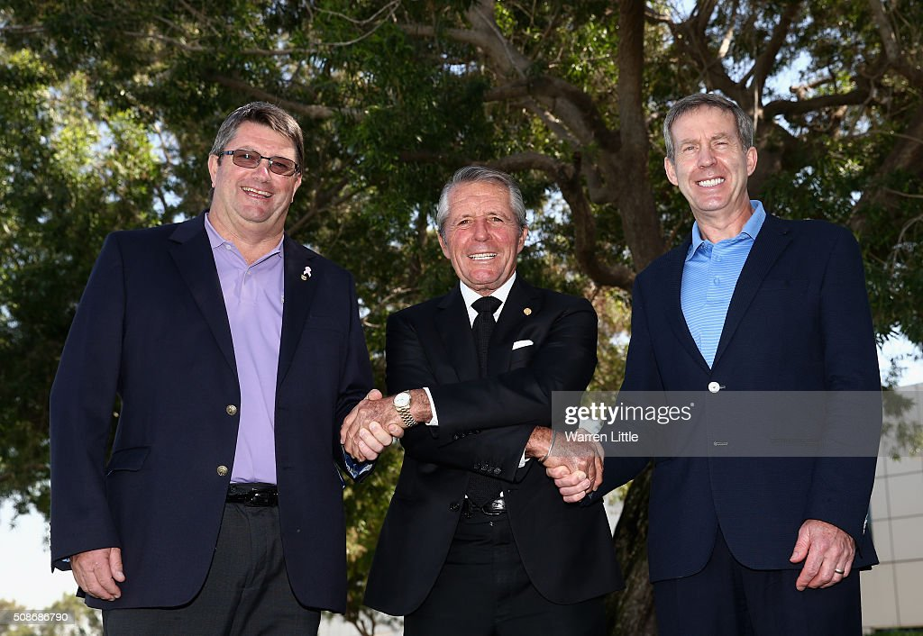 Grant Wilson, Chief Executive Officer Sunshine Tour, <a gi-track='captionPersonalityLinkClicked' href=/galleries/search?phrase=Gary+Player&family=editorial&specificpeople=203189 ng-click='$event.stopPropagation()'>Gary Player</a> of South Africa and Keith Waters, Chief Executive Officer European Tour pose for a picture as <a gi-track='captionPersonalityLinkClicked' href=/galleries/search?phrase=Gary+Player&family=editorial&specificpeople=203189 ng-click='$event.stopPropagation()'>Gary Player</a> is named as host of the Nedbank Golf Challenge which will be the second leg of the European Tour's Final series during the third round of the Omega Dubai Desert Classic on the Majlis Course at the Emirates Golf Club on February 6, 2016 in Dubai, United Arab Emirates.