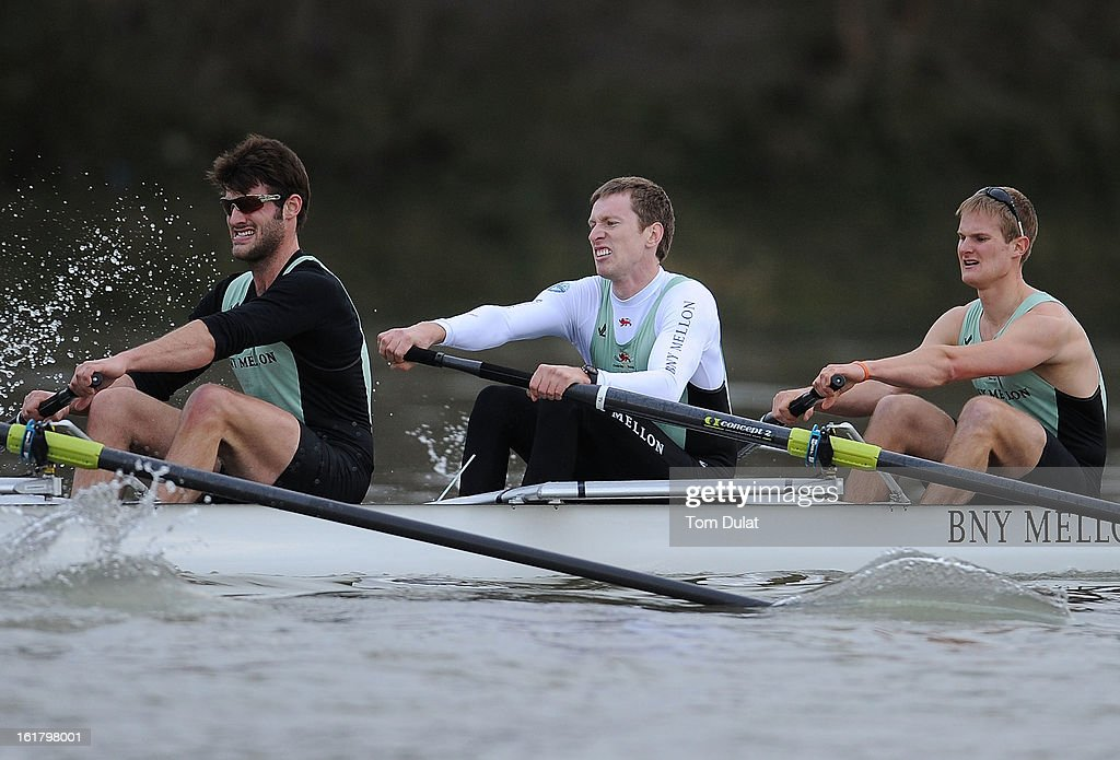 Grant Wilson, Ty Otto and Steve Dudek of The Cambridge team in action during the training race against University of Washington on the River Thames on February 16, 2013 in London, England.
