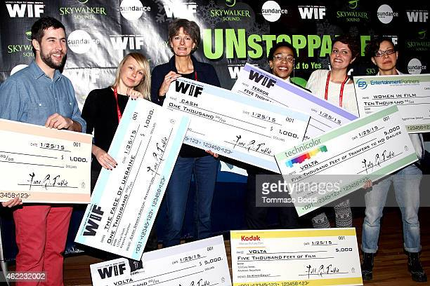 WIF grant winners David Felix Sutcliffe Kitty Green Louise Osmond Lyric R Cabral Stella Kyriakopoulos and Ilinca Calugareanu attend the Women In Film...