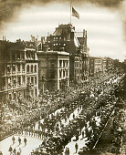 Grant's funeral procession passing overloaded telegraph poles and crowded windows opposite the old Reservoir New York August 8 1885