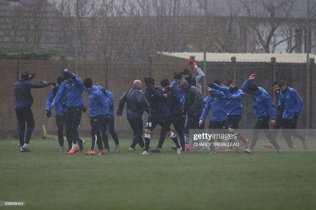 US Granville football club's players train near the Louis Dior stadium on February 8, 2016 in Granville, northwestern France. / AFP / CHARLY TRIBALLEAU