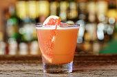 Grapefruit cocktail sour with fruit vodka and grapefruit juice