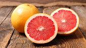 grapefruit on wood background