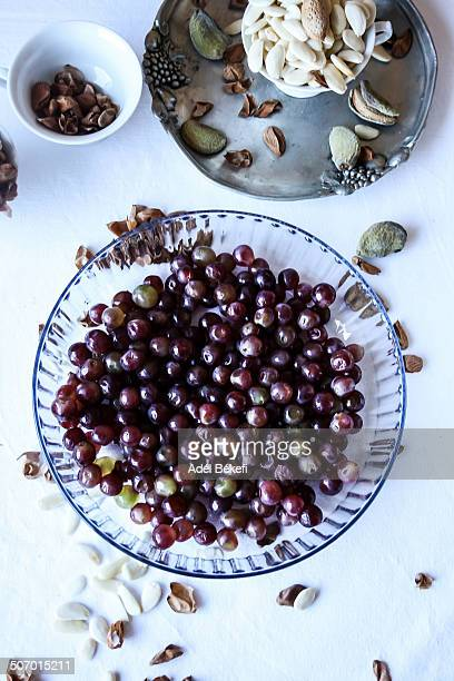 Grapes and almonds in bowl