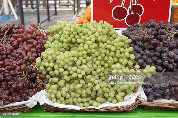 Grapes for sale at a farmer's market.