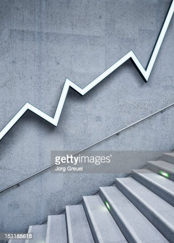 Graph and stairs : Stock Photo