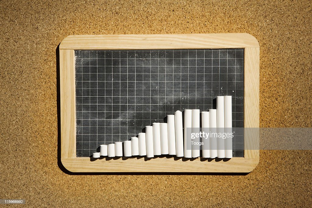 Graph chalkboard with chalk