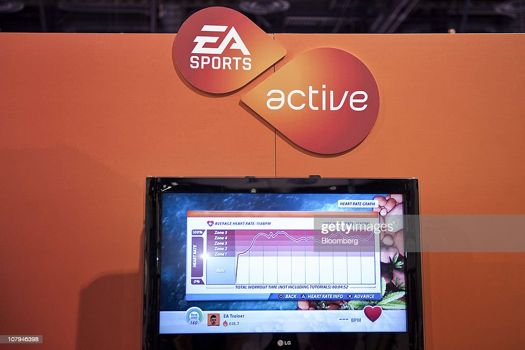 A graph displays the average heart rate of a user who played Electronic Arts Inc.'s (EA) Active 2 personal trainer game during the 2011 International Consumer Electronics Show (CES) in Las Vegas, Nevada, U.S., on Saturday, Jan. 8, 2011. The 2011 CES tradeshow features 2,500 global technology companies presenting consumer tech products and is expected to draw over 100,000 attendees. Photographer: Jacob Kepler/Bloomberg via Getty Images