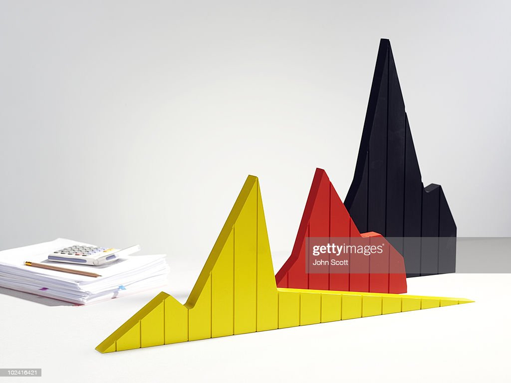 Graph models with calculator : Stock Photo