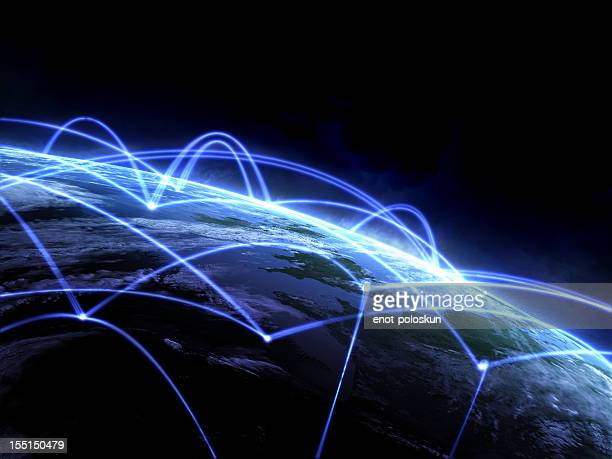 Graphic 3D light lines over the earth from space