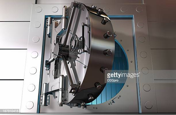 Graphic art of a partially opened steel bank vault door