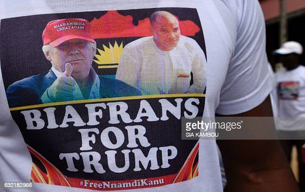 Graphic content / A Biafran wears a Tshirt with the images US Presidentelect Donald Trump and of jailed Biafran political activist Nnamdi Kanu as he...