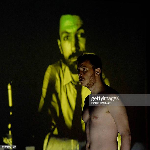 Graphic content / French actor Antoine Ferron from the collective 'Si vous pouviez lecher mon coeur' performs during the rehearsal of '2666' directed...