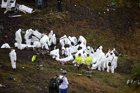TOPSHOT-FBL-COLOMBIA-BRAZIL-ACCIDENT-PLANE : News Photo