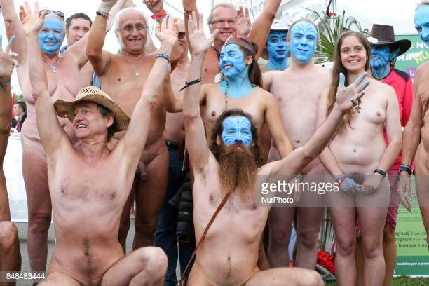 Graphic Content] Naturists members of the Association for the promotion of the free naturism take part in the Festival of Humanity a political event...