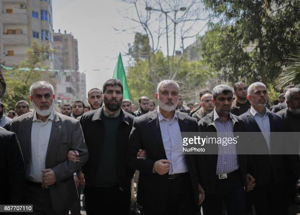 Graphic content / Yahya Sinwar the new leader of Hamas in the Gaza Strip and senior political leaders of the Islamist movement Ismail Haniyeh and...
