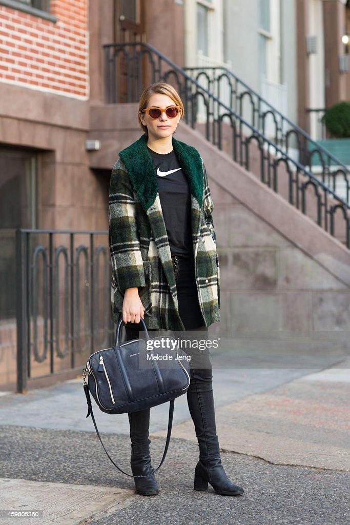 Graphic Designer and Francine Dressler creative director Madelyn Somers wears Selima Optique Candace cateye sunglasses a vintage jacket Nike boy's...