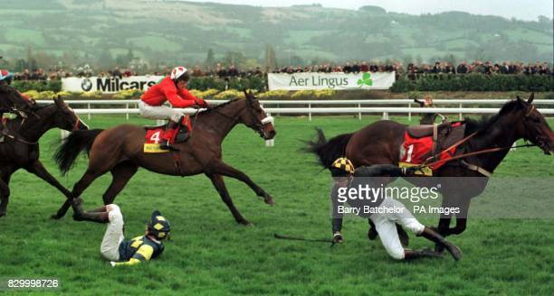 Graphic Equaliser ridden by P Carberry passes Norman Williamson who had already fallen from Shadow Leader and Barry Fenton from Bellator during the...