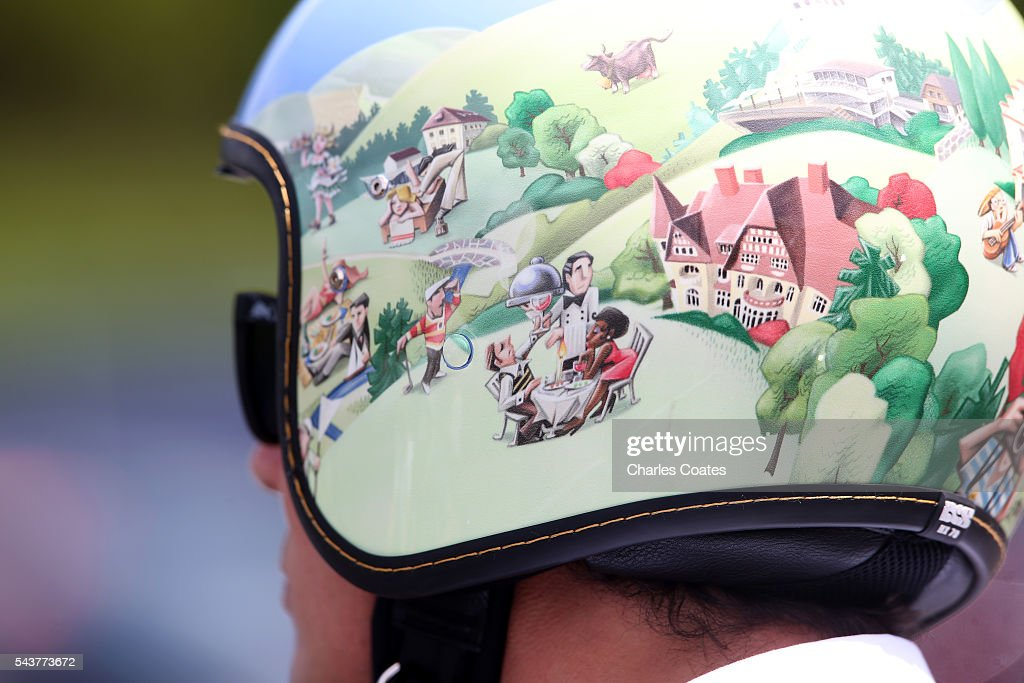 A graphic helmet during previews ahead of the Formula One Grand Prix of Austria at Red Bull Ring on June 30, 2016 in Spielberg, Austria.