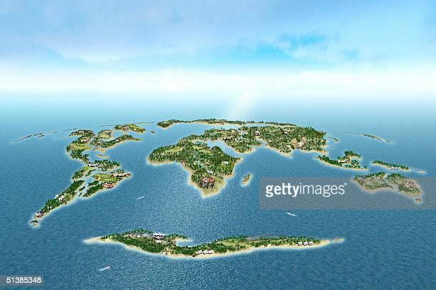 'UAEDUBAITOURISM' A graphic image shows a cluster of 300 islands shaped like a world map There are only so many islands in the world but the dream of...