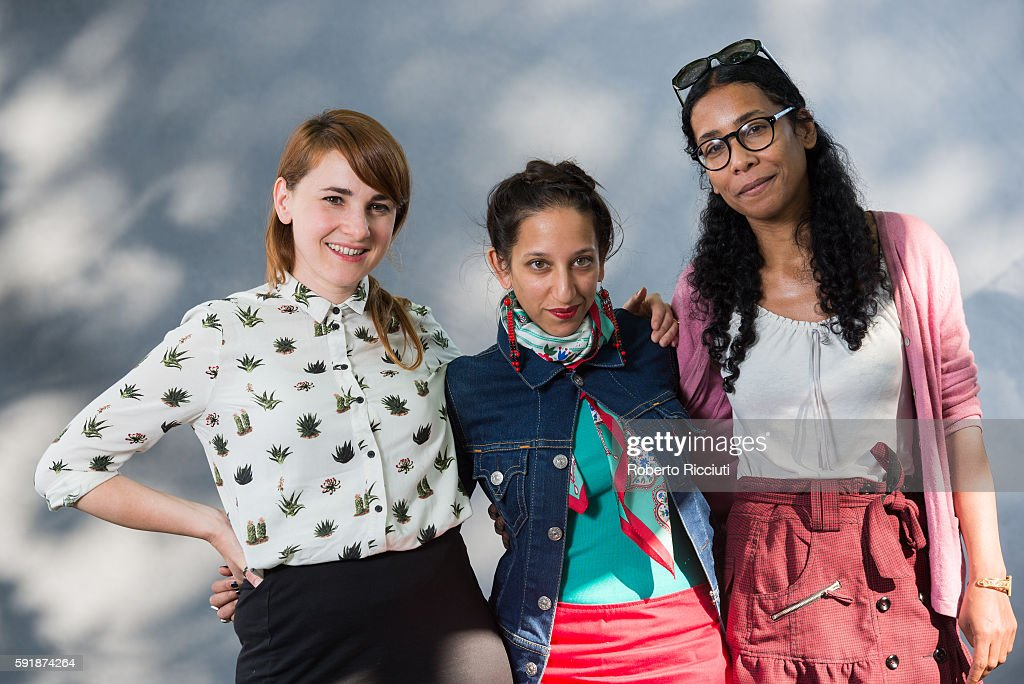 Graphic novelist Karrie Fransman, British journalist Bidisha and novelist Bessora attends a photocall at Edinburgh International Book Festival at Charlotte Square Gardens on August 18, 2016 in Edinburgh, Scotland.