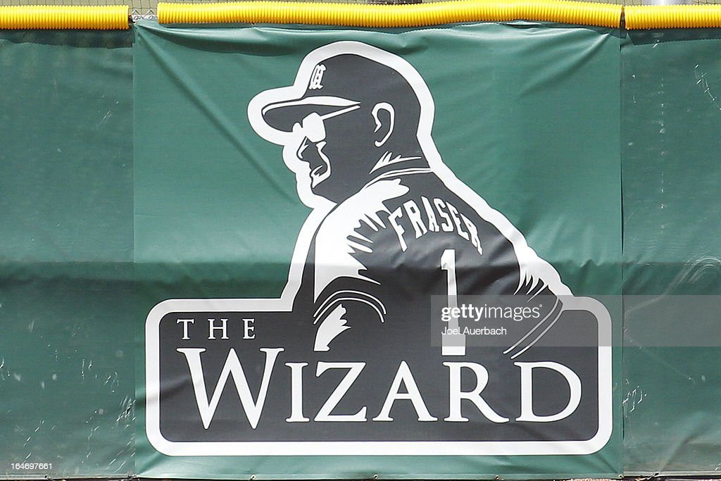 A graphic of former Miami Hurricanes head coach Ron Fraser is shown near center field during the game against the Virginia Tech Hokies on March 24, 2013 at Alex Rodriguez Park at Mark Light Field in Coral Gables, Florida. Fraser was the head coach of the Hurricanes from 1963 through 1992 and died on January 20, 2013. Virginia Tech defeated Miami 8-5 in 10 innings.