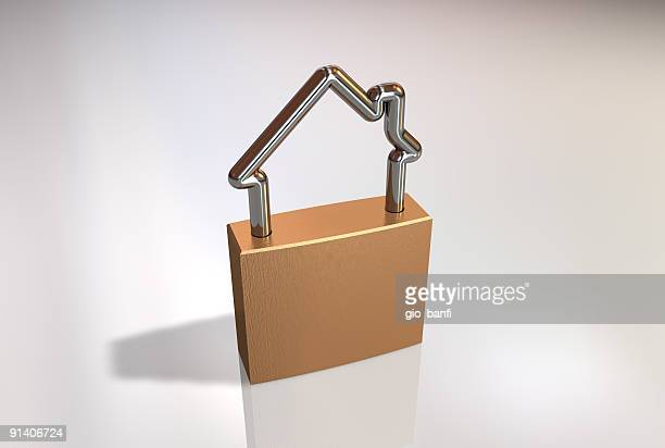 3D graphic of house shaped padlock