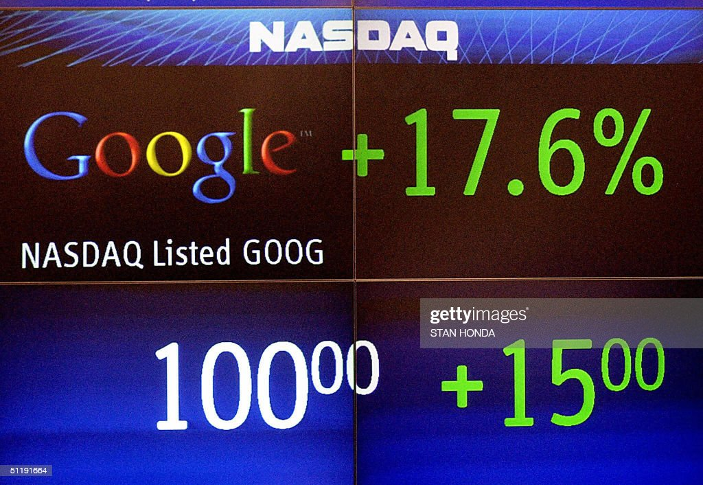 A graphic of the Google stock price is shown on the board after trading started, 19 August, 2004, on the Nasdaq stock exchange in New York. Google, making the biggest Internet float since the 1990s technology bubble, opened at 100.01 USD. Within an hour, more than 12 million shares had changed hands. The world's leading Internet search engine spiked to 103.42 USD and was trading early afternoon at 103.15 USD, valuing the entire company at 28 billion dollars. AFP PHOTO/Stan HONDA