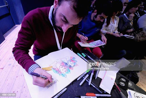 Graphic Recorder for Moleskine Pierpaolo Barresi and Illustrator Federico Gioberto draw during a speech by the Cartoonist and cocreator of the comic...