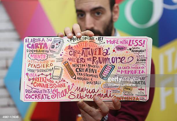 Graphic Recorder for Moleskine Pierpaolo Barresi poses at the IF Italians Festival at Franco Parenti Theater on November 7 2015 in Milan Italy