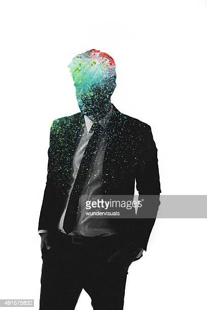 Graphic representation of man with artistic colours in his head