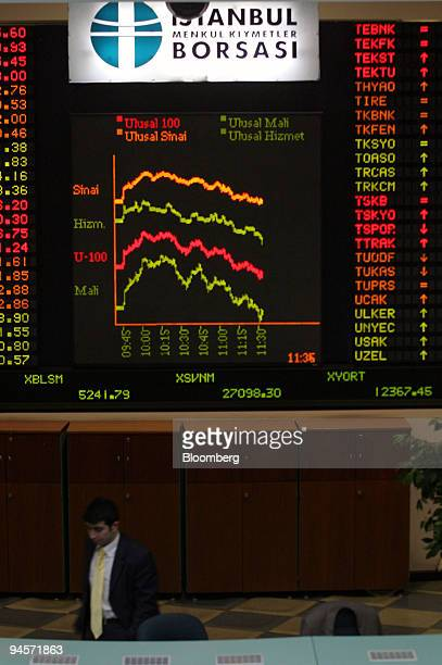 A graphic representation of share values illustrated on a electronic screen above the trading floor of the Istanbul Stock Exchange in Istanbul Turkey...