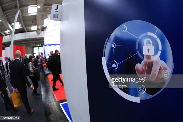 A graphic representation to illustrate cyber security sits on a display panel at the CeBIT 2017 tech fair in Hannover Germany on Tuesday March 21...