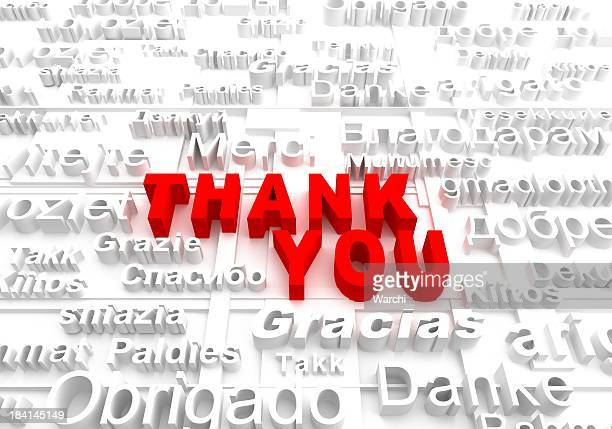 Graphic saying Thank You in various languages