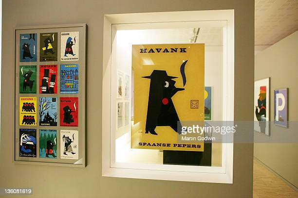 Graphic works by Dick Bruna author of the Miffy books artist illustrator and graphic designer at the Dick Bruna House Museum Utrecht The Netherlands...