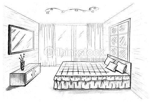 grafische skizze ein interior schlafzimmer stock foto. Black Bedroom Furniture Sets. Home Design Ideas