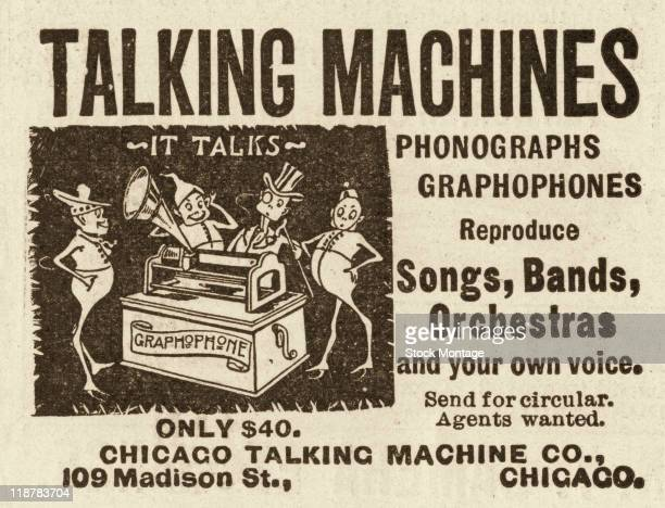 A Graphophone phonograph is pictured in an advertisement that appeared in an issue of a magazine from 1896