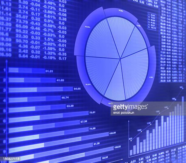 Graphs and financial charts in purple