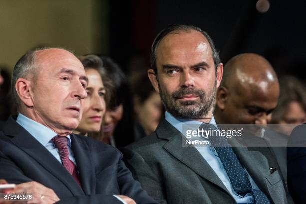 Gérard Collomb and Edouard Philippe at the meeting during the council of the Republic on the Move party at Eurexpo Lyon France on November 18 2017...