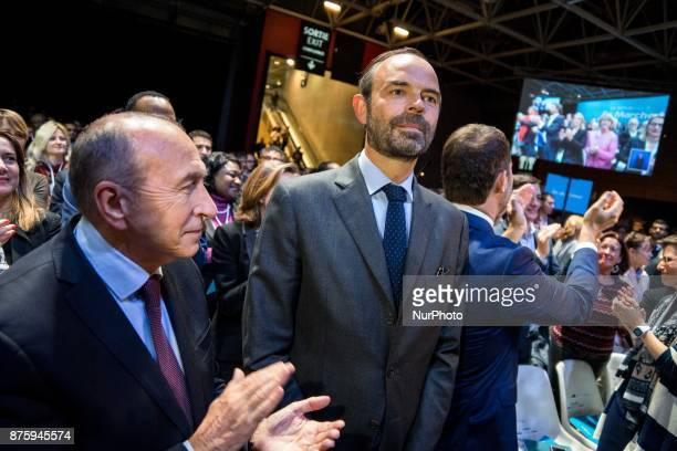 Gérard Collomb Edouard Philippe and Christophe Castaner at the meeting during the council of the Republic on the Move party at Eurexpo Lyon France on...