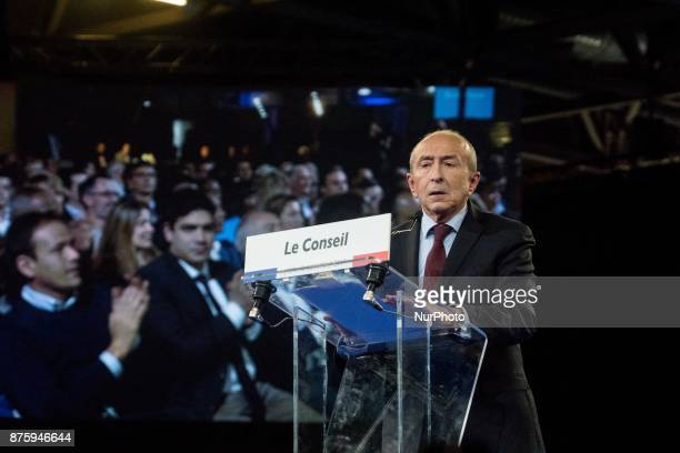 Gérard Collomb give a speech at the meeting during the council of the Republic on the Move party at Eurexpo Lyon France on November 18 2017...