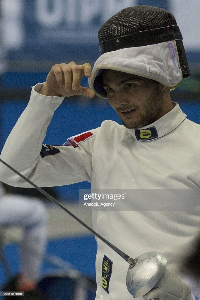 Graseselli Valerio from Italy competes in the fencing at the mixed relay World Championship in modern pentathlon in Olympic Sports Complex in Moscow, Russia, on May 29, 2016.