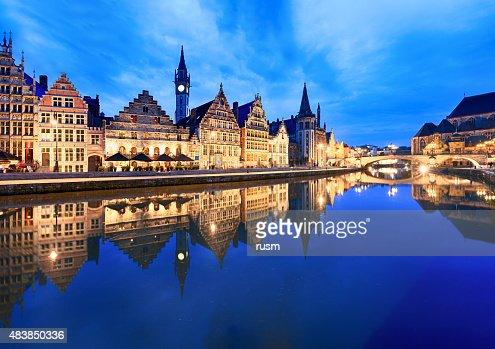 Graslei Harbour at dusk, Ghent, Belgium
