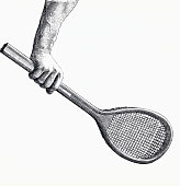 Grasp of the tennis racket for a backhand stroke Engraving 1890