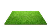 Close up of empty grass carpet isolated on white background with copy space