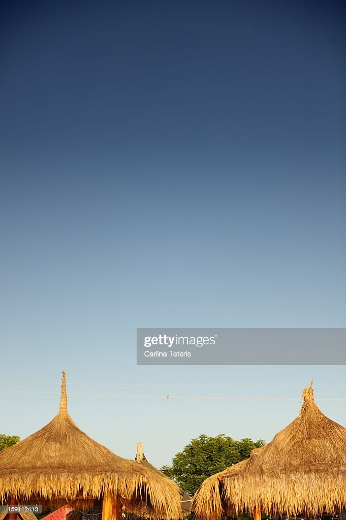 Grass hut rooves : Stock Photo