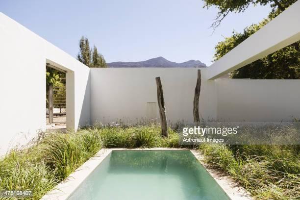 Grass surrounding lap pool