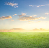 Empty grassland and sky at evening time.